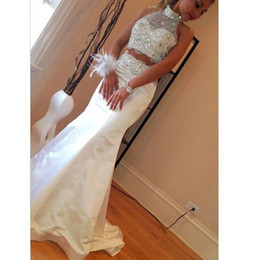 Wholesale Silver Diamond Prom Dresses - Mermaid 2 Pieces Prom Dresses High Neck Sleeveless Diamonds Beads Satin Floor Length Sparkly 2016 Party Gowns Custom Made