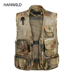 Wholesale Camouflage Waistcoat - Wholesale- Hanwild Tactical Mesh Men Vest Breathable Multi Pockets Camouflage Summer Outdoors Waistcoat Sleeveless Jacket Hunt Vest Size 3X