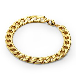 Wholesale Hip Mens Bracelets - Fashion Design Male Cuban Chain Bracelets Men Punk Filling Pieces Mens Rock Hip Hop Gold Jewelry Cuban Bracelets For Men 22cm Long