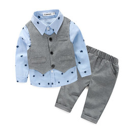 Wholesale Baby Waistcoat Outfit - 3pcs Toddler Baby Boy Gentleman Waistcoat+Pants+Shirt Outfit Clothes Suit