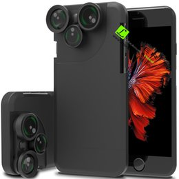 Wholesale Iphone Case Kits - For iPhone 7 Case Cover Rotation 4 in 1 Lens Case Camera Lens Kit Fish Eyes   Macro   Wide Angle   Telephoto