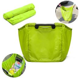 Wholesale Portable Shopping Trolley - Wholesale- 100pcs lot Reusable Large Trolley Clip-To-Cart Grocery Shopping Bags Portable Nylon Bag Foldable Tote Handbags