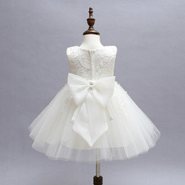 Wholesale High End Wedding Gowns - Wholesale- High-end Newborn Baby Girl Dress Clothes Formal Events Girl Tulle Lace Wedding Gown Dress For Baby Girl 1 2 Years Birthday Gift