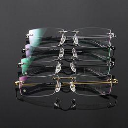 Wholesale Reading Glasses Gold Frame - Unisex Glasses Eyewear Eyeglasses Men Women Rimless Frame Titanium Spectacles Reading Vintage Comfort Rectangle