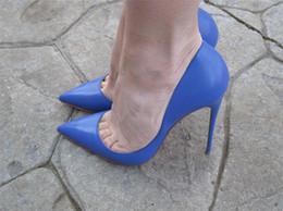 Argentina Envío gratis Moda mujer zapatos sexy lady Blue kid cuero punta del dedo del pie tacones delgados zapatos de tacón botas botas bombas foto real boda de la novia zapatos Suministro