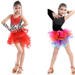 Wholesale Ballroom Dresses For Women - Kids Sequined Ballroom Latin Dance Dress Girls Rumba Salsa Tassel Competition Dancing Costumes Fringe danceware Outfits for Chidlren'