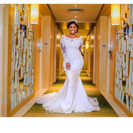 Wholesale Sweetheart Neckline Sleeves - 2017 Nigerian Wedding Dresses Sweetheart Neckline with Sheer Lace Appliqued Long Sleeves Chapel Train Length African Black Girl Bridal Gowns