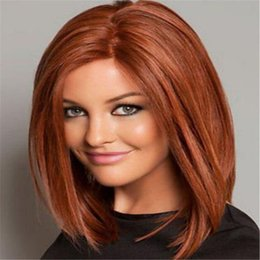 Wholesale Cheap Stylish Wigs - Stylish reddish brown Synthetic Wigs for Women Cheap Hair Wig Female Hair middle long straight wig Full Wig for women DHL bea440