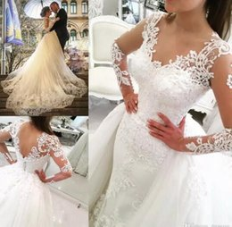 Wholesale Dress Ruffled Skirt Long - 2017 Luxury Sheer Long Sleeves V-Neck Tulle Appliques Wedding Dresses with Detachable OverSkirts Floor length Bridal Gowns