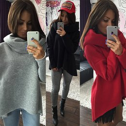Wholesale Turtle Scarves - 2017 Women Winter Hoodies Scarf Collar Long Sleeve Fashion Casual Autumn Sweatshirts Rough Pullovers