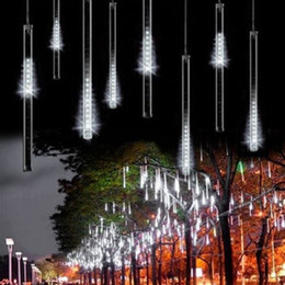 wholesale christmas lights Promo Codes - White LED Meteor Shower Rain Lights,Drop Icicle Snow Falling Raindrop 30cm 8 Tubes Waterproof Cascading lights for Wedding Xmas Home Decor