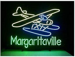 Aereo di vetro online-Fashion New Handcraft Airplane Margaritaville Real Glass Tubes Beer Bar Pub Display insegna al neon 19x15 !!!