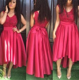 Wholesale Holiday Dubai - Rose Red Cheap Prom Dresses V Neck Sleeveless Formal Evening Party Gowns With Sash Hi-Lo Dubai Holiday Dresses For Guest
