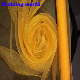 Wholesale Organza For Background - Big Sale!!! High Quality Yellow ORGANZA For Background Of Wedding Decoration 0.72 M x110 Meters Roll, Chair Cover Sashes Home Party Banquet