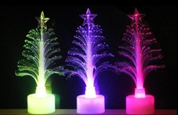 Wholesale Led Small Christmas Tree - Romantic gift discus fiber optic Christmas tree Creative colorful small night lights flashing Christmas tree