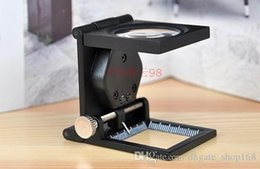 Wholesale folding lighted magnifier - LED lighting Magnifier Fold Magnifier with Scale magnifying glass Jewelry Loupe
