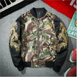 Wholesale Women S Pilot Jackets - Y-3 kanye west high quality Dragon pattern MA-1 men and women camouflage jacket pilot hip hop baseball yeezus motorcycle jacket