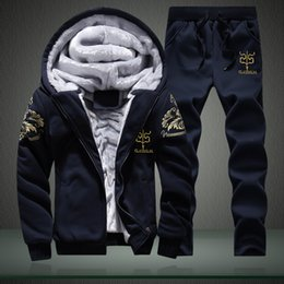 Wholesale Camouflage Jacket Hoody - Wholesale-New Winter Mens Sweat Suits Brand Mens Tracksuit Sets Fleece Zipper Hooded Jacket + Pants Sporting Suit Camouflage Sleeve Hoody