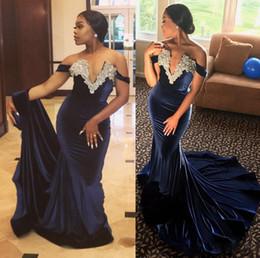Wholesale Elegant Stunning Dress - Elegant Velvet Mermaid Evening Dresses 2018 Stunning Pearls Off the Shoulder African Navy Blue Prom Gowns Lace Appliqued Dress For Partys