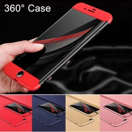 Wholesale Pink Hard Plastic Iphone Cases - NEW Design 360 Degrees Full Body Protection Case Cover For Coque iphone 6s 6 7 8 Plus Matte Hard Cases fundas +Tempered Glass