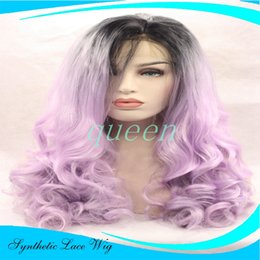 Wholesale Wig Light Purple - HotSelling Long 1b purple color lace front Ombre Two or 1b light purple heat resistant synthetic lace front wig with baby hairTone col