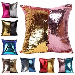 Wholesale Cushioned Car Covers - Sequin Pillow Case Sequin Pillowslip 2 Tone Color Pillow Cases Reversible Cushion Cover Home Sofa Car Decor Mermaid Pillow Covers 123001