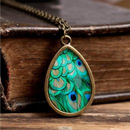 Wholesale Wholesaler Photo Jewelry - 2017 New Peacock Feather Necklace Abstract Feathers Jewelry Tear Drop Pendant Art Nouveau Chain Glass Photo Necklaces