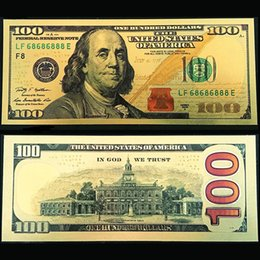 Wholesale Collections Money - New Colorful US 24k Gold Foil Dollars $100 Commemorative Collections Banknotes Home Holiday Decoration Arts Gifts Souvenir Money