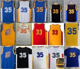 Wholesale Chinese Yellow - #35 Kevin Durant jersey the city throwback blue white yellow Chinese SWINGMAN jerseys