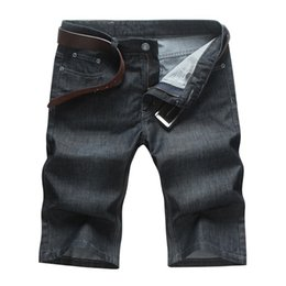 Wholesale Denim Fat Pants - Wholesale-The new fat plus fat XL Men's waist denim shorts tide male black loose denim pants