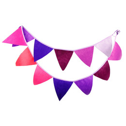 Bannière de bourrage de tissu à vendre-Vente en gros - 12 drapeaux 3.2m Cute Solid Purple Nonwoven Fabric Bunting Pennant Flag Banner Garland Wedding / Birthday / Baby Show Party Supplies