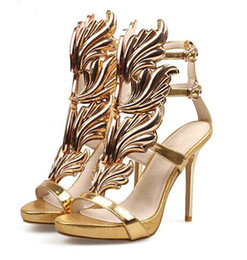 Wholesale Gray Dress Shoes Women - 2017 Summer Golden Metal Wings Leaf Strappy Dress Sandal Silver Gold Red Gladiator High Heels Shoes Women Metallic Winged Sandals Women