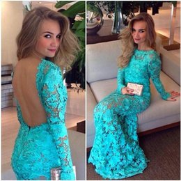 Wholesale Lilac Aqua Dresses - Backless Mother Of The Bride Dresses Aqua Lace Mermaid Sheer Prom Gowns With Long Sleeves Vestidos Para Madrinha