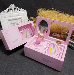 Meninas rosa decoração on-line-Music Box Girando Ballet menina caixas de música Espelho de maquiagem rosa Jóias Caso casamento portátil Xmas Giftware amante Home Decor 14xb D