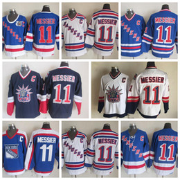 Barato l c on-line-Vintage New York Rangers Mark Messier Hóquei Jerseys 75th Anniversary Azul Vintage CCM Cheap # 11 Mark Messier Stitched Jersey C Remendo
