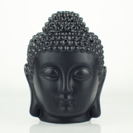 Wholesale Buddha Oil - Wholesale- Ceramic aromatherapy oil burner, Buddha head aromatherapy oil station, black and whiteTemple   Home