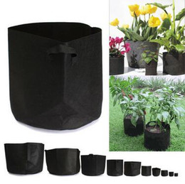 Wholesale Modern Plant Pots - Creative Non Woven Grow Bag Plant Fabric Pot Plant Pouch Root Container Aeration Flower Pot Garden Bag Planter Firm Flowerpot CCA6213 100pcs