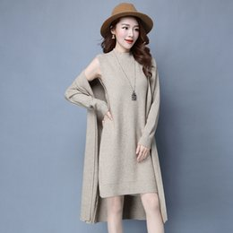 Wholesale Knitted Sweater Vest Korean - Wholesale- Women Fashion Korean 2 Piece Set Sweater Ladies Knitted Cardigans And Vests Long Cape Sweaters 2016 Autumn Winter 2016 Y1012-145