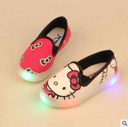 Wholesale Infants Canvas - Kids LED Shoes Casual Boys Mickey Shoes Children Canvas Shoes KT Cats Mickey Mouse Cartoon Infant Toddler Baby Girls Sneaker with Light