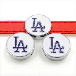 Wholesale La Dodgers - LA Dodger SL239-4 Wholesale 8mm zinc alloy slider Charms DIY Accessories Fit 8mm Pet Collar wristband