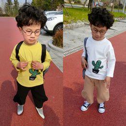 Wholesale Korean Kids Shirt Wholesale - 2017 New Kids t shirt boys Cactus Printed Long Seeve Cotton Tee Shirt Korean Autumn Fashion Kids Casual Tops C1514