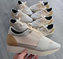 Wholesale White Pointed Toe - Race Runner Black leather fabric sneakers Top Quality Designer Low Top women Shoes Casual Kanye West Style Race Runner Mesh Breathable Flats