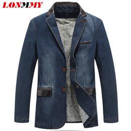 Wholesale Leather Sleeve Denim Jacket - Wholesale- LONMMY M-4XL Cowboy blazer jeans jacket men jaqueta Cotton PU leather stitching Casual Denim jacket men blazer Suits for men New