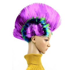 Wholesale Figurine Christmas - 2017 Wholesale wig funny clothes dancing headdress - children mohawk wig hao black funny rock fancy dress party dress hair