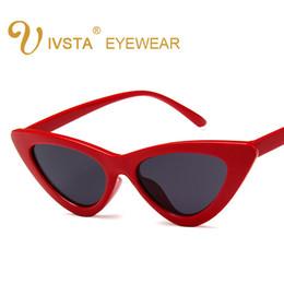 Wholesale Sunglasses Cheap Pilot - IVSTA Cute sexy retro cat eye sunglasses women small black white 2018 triangle vintage cheap sun glasses red female uv400