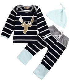 Wholesale Long Sleeve Newborn Outfits - Wholesale- Newborn Baby Boys Girls Long Sleeve Tops + Long Pants Casual Animals Cotton Hat 3PCS Outfits Set Baby Clothes