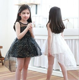 Wholesale Star Baby Dress - Summer Girls Lace stars Dresses Baby Girl Princess Sleeveless Dress Babies Korean Party Dress 2017 childrens Summer clothing
