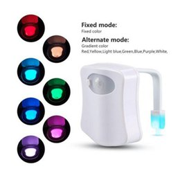 Wholesale Led Light Toilet Seat - Toilet Night Light LED Sensor Motion Activated Toilet Bathroom Washroom Night Lamp Toilet Bowl Light Sensor Seat Nightlight