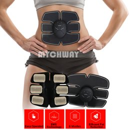 Wholesale Ems Stimulator - New Smart Wireless Electric Massager EMS abdominal training Device Electrotherapy Back Pain Relief ABS Fit Muscle Stimulator