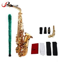 Wholesale silver alto sax - wholesale High Quality Saxophone Sax Eb Be Alto E Flat Brass Carved Pattern Plastic Mouthpiece with Gloves Cleaning Cloth Brush Straps